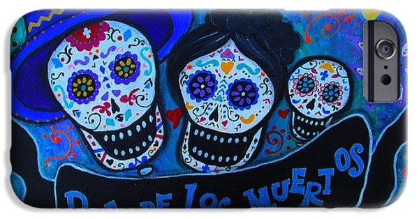 Carter Family iPhone Cases - Dia De Los Muertos Familia iPhone Case by Pristine Cartera Turkus