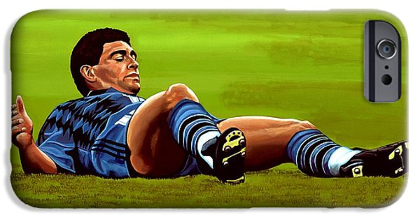 20th iPhone Cases - Diego Maradona iPhone Case by Paul Meijering
