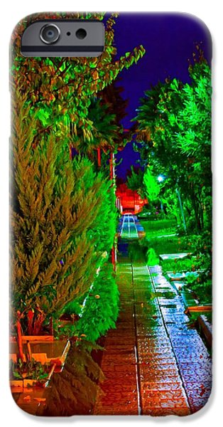 Night Lamp Mixed Media iPhone Cases - Digital painting of colouful gardens at nightime iPhone Case by Ken Biggs