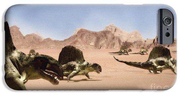 Blood Links iPhone Cases - Dimetrodons, Artwork iPhone Case by Christian Darkin