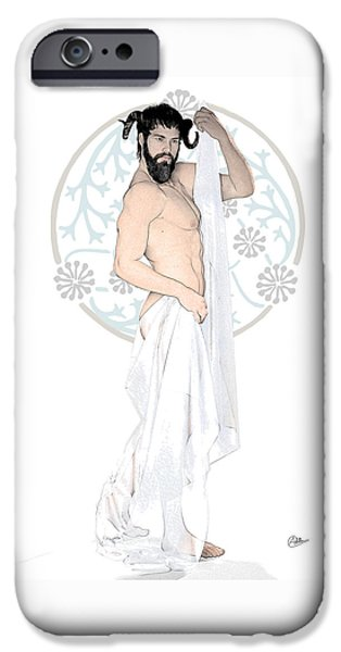 Son Of God Drawings iPhone Cases - Dionysus By Quim Abella iPhone Case by Joaquin Abella
