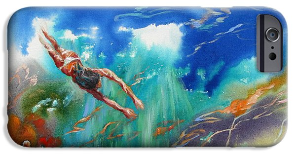 Concept Paintings iPhone Cases - Diver iPhone Case by Lina Golan