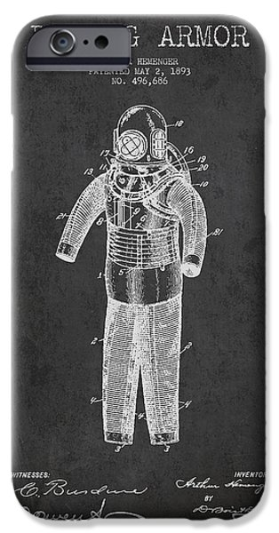Diver iPhone Cases - Diving Armor Patent Drawing from 1893 iPhone Case by Aged Pixel
