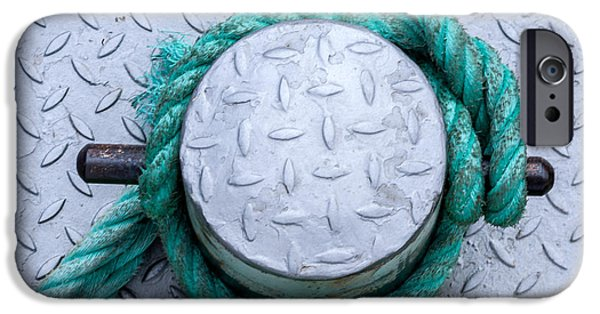 Commercial Photography iPhone Cases - Dock Bollard with Green Boat Rope iPhone Case by Iris Richardson