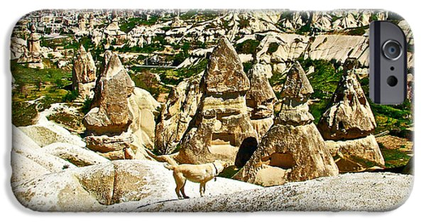 Dog In Landscape Digital iPhone Cases - Dog Looking at Fairy Chimneys in Cappadocia-Turkey iPhone Case by Ruth Hager