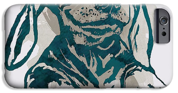 Dogs Mixed Media iPhone Cases - Dog stylised pop modern etching art portrait iPhone Case by Kim Wang