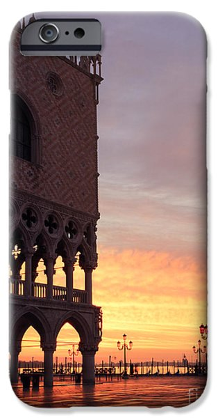 Beauty Mark iPhone Cases - Doges palace at sunrise Venice Italy iPhone Case by Matteo Colombo