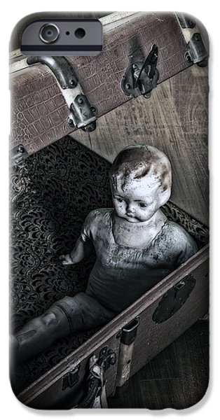 Eerie iPhone Cases - Doll In Suitcase iPhone Case by Joana Kruse