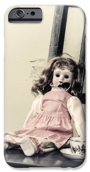 Porcelain Doll iPhone Cases - Doll With Tea Cup iPhone Case by Joana Kruse