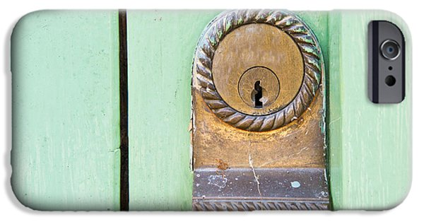 Aluminum iPhone Cases - Door lock iPhone Case by Tom Gowanlock