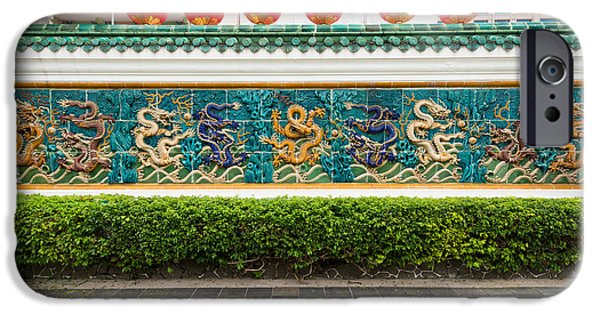 Creativity Photographs iPhone Cases - Dragon Frieze Outside A Building iPhone Case by Panoramic Images