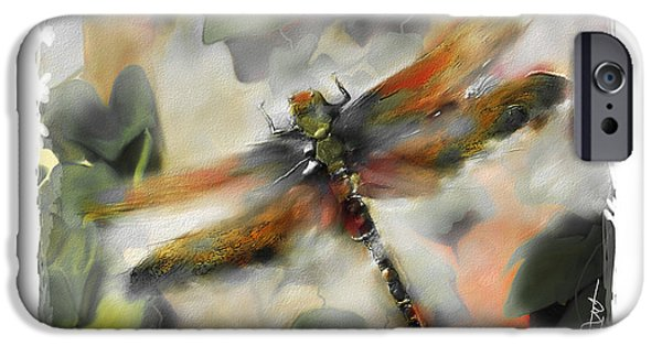 Modern Digital Art iPhone Cases - Dragonfly Garden iPhone Case by Bob Salo