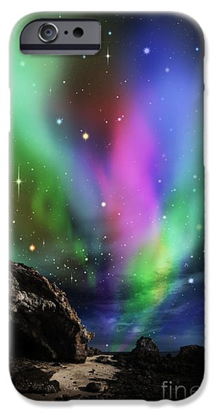 Alaska Mixed Media iPhone Cases - Dramatic Aurora iPhone Case by Atiketta Sangasaeng