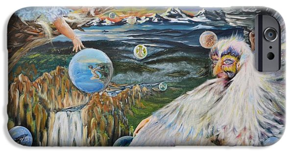 Merging Paintings iPhone Cases - Dreamers Dream iPhone Case by Katerina Naumenko