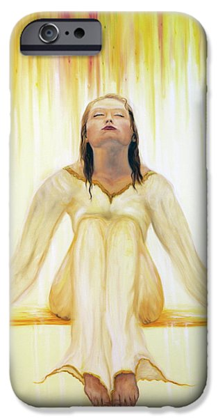 Spiritual Portrait Of Woman iPhone Cases - Drenched iPhone Case by Jeanette Sthamann