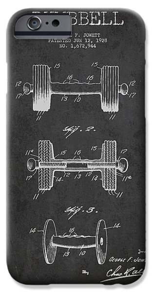 Training iPhone Cases - Dumbbell Patent Drawing from 1927 iPhone Case by Aged Pixel