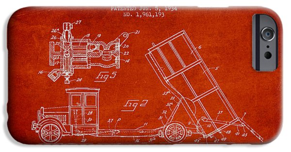 Machinery iPhone Cases - Dump Truck patent drawing from 1934 iPhone Case by Aged Pixel