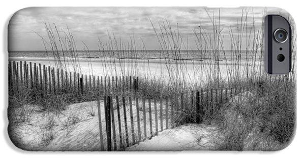 Sanddunes iPhone Cases - Dune Fences iPhone Case by Debra and Dave Vanderlaan