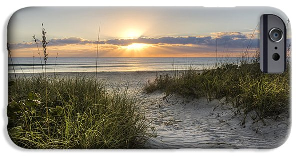 Sunset At The Lake iPhone Cases - Dune Trail iPhone Case by Debra and Dave Vanderlaan