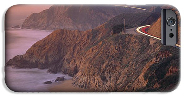 Coast Highway One iPhone Cases - Dusk Highway 1 Pacific Coast Ca Usa iPhone Case by Panoramic Images