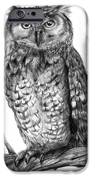 Drawing Of Eagle iPhone Cases - Eagle Owl iPhone Case by Dale Jackson