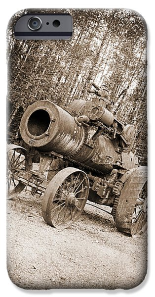 Business Photographs iPhone Cases - Early 1900s Steam Engine Farm Tractor iPhone Case by Tina Wentworth