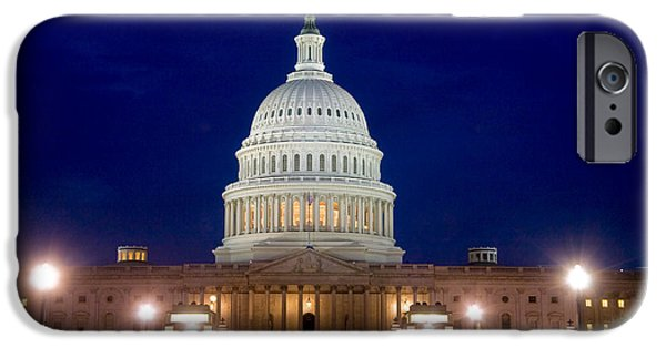 Night Lamp iPhone Cases - East Front Of U.s. Capitol Building iPhone Case by Spencer Grant