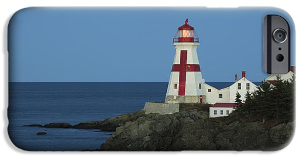 East Quoddy Lighthouse iPhone Cases - East Quoddy Lighthouse At Dusk iPhone Case by Scott Leslie