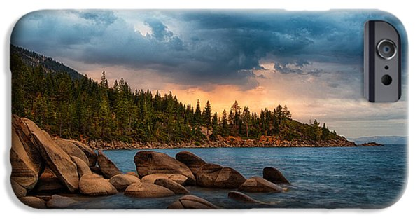 Rocks iPhone Cases - Eastern Glow at Sunset iPhone Case by Anthony Bonafede