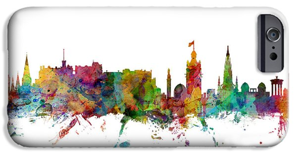Great Britain iPhone Cases - Edinburgh Scotland Skyline iPhone Case by Michael Tompsett