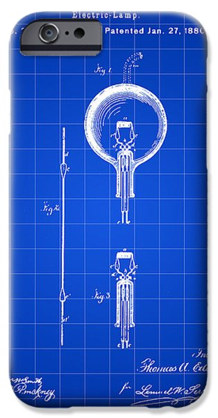 Light Bulb iPhone Cases - Edison Light Bulb Patent 1880 - Blue iPhone Case by Stephen Younts