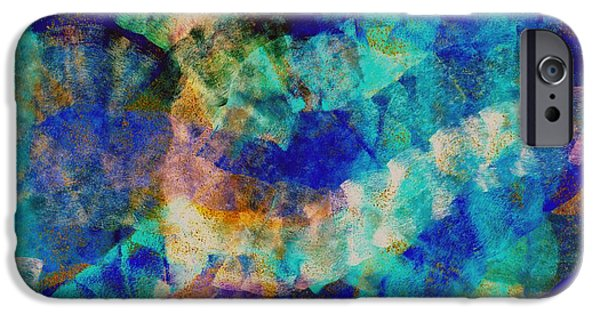 Abstract Digital Pastels iPhone Cases - Electric blue iPhone Case by Julio Haro