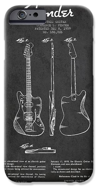 Technical iPhone Cases - Electric Guitar Patent Drawing from 1959 iPhone Case by Aged Pixel