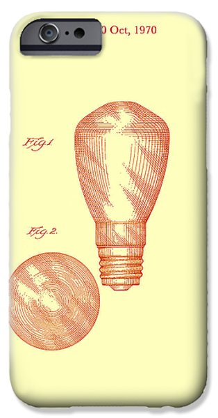 Electric Drawings iPhone Cases - Electric Light Bulb Patent 1970 iPhone Case by Mountain Dreams