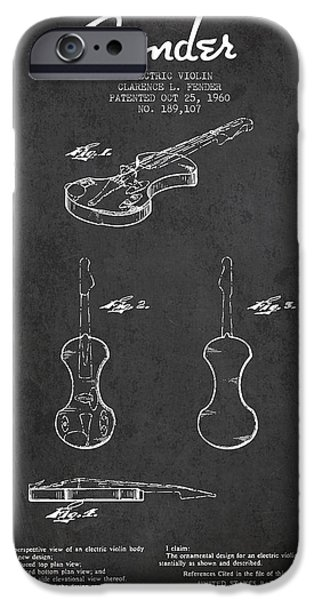 Strings Digital iPhone Cases - Electric Violin Patent Drawing From 1960 iPhone Case by Aged Pixel