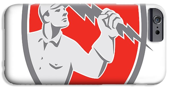 Electrician iPhone Cases - Electrician Holding Lightning Bolt Shield Retro iPhone Case by Aloysius Patrimonio