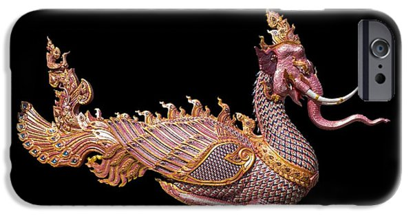Asian Sculptures iPhone Cases - Elephant Dragon iPhone Case by FL collection