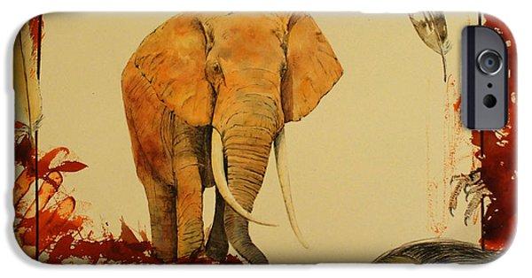 Elephant iPhone Cases - Elephant iPhone Case by Juan  Bosco