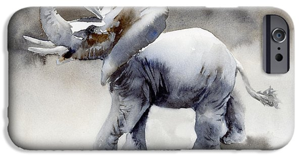 Nature Study Paintings iPhone Cases - Elephant Light Study  iPhone Case by Amy Kirkpatrick