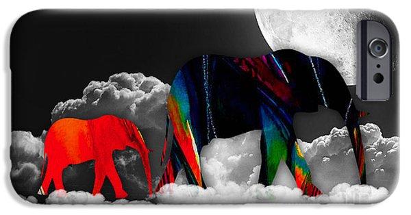 Elephants iPhone Cases - Elephants On Cloud 9 iPhone Case by Marvin Blaine