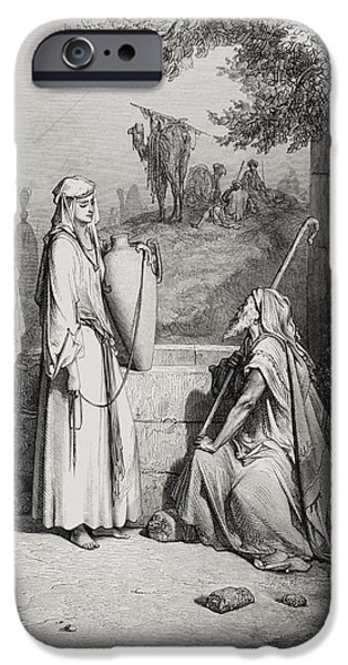 Betrothed iPhone Cases - Eliezer and Rebekah iPhone Case by Gustave Dore