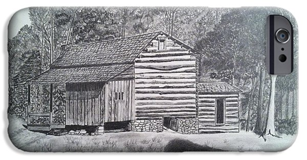 Tennessee Drawings iPhone Cases - Elijah Oliver Cabin iPhone Case by Tony Clark