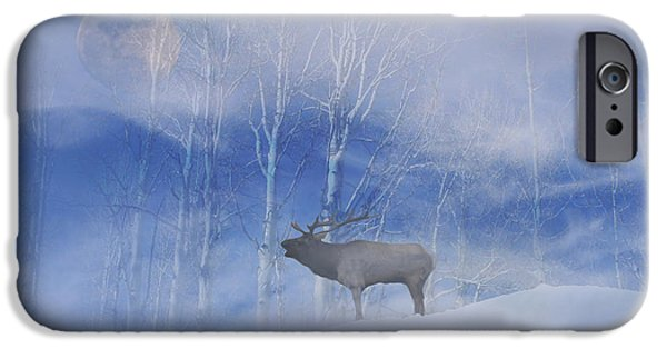 Nature Scene iPhone Cases - Elk and Moon iPhone Case by Stephanie Laird
