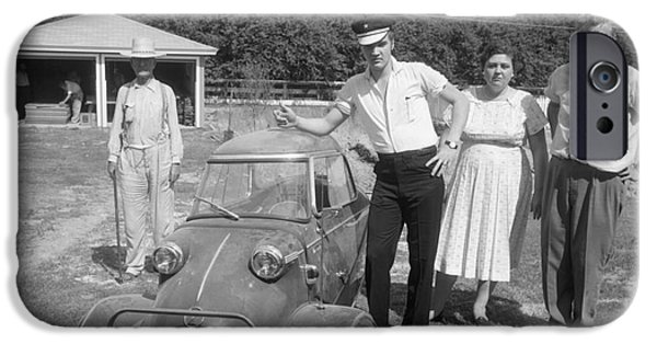 Archives iPhone Cases - Elvis and his Messerschmitt with Vernon and Gladys Presley 1956 iPhone Case by The Phillip Harrington Collection