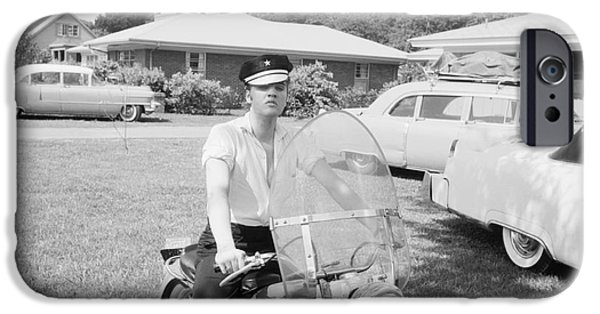 Archives iPhone Cases - Elvis Presley sitting on his 1956 Harley KH iPhone Case by The Phillip Harrington Collection