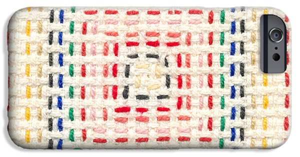 Abstracts Tapestries - Textiles iPhone Cases - Embroidery made by a child iPhone Case by Kerstin Ivarsson