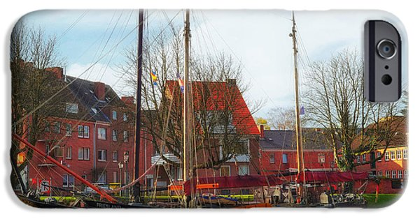 Tall Ship iPhone Cases - Emden Harbor - Germany iPhone Case by Pixabay