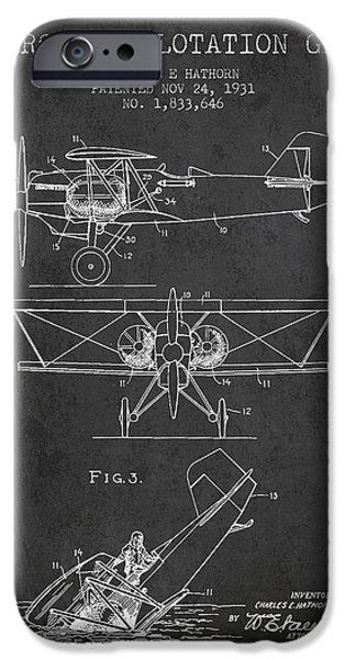 Gear Digital iPhone Cases - Emergency flotation gear patent Drawing from 1931 iPhone Case by Aged Pixel