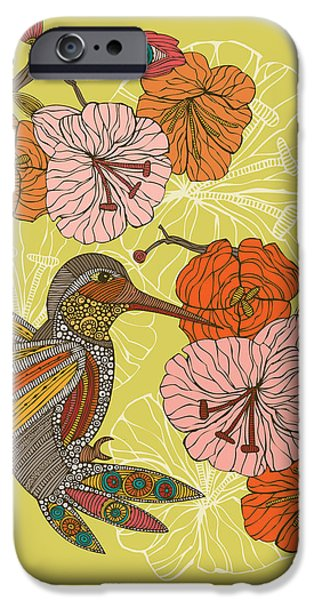 Floral Digital Art Digital Art Photographs iPhone Cases - Emilia the bird iPhone Case by Valentina
