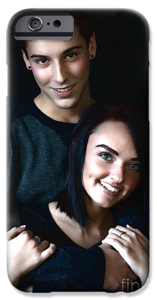Couple Pyrography iPhone Cases - Emily Hall and Dakota Cowfer iPhone Case by Robin Bailey